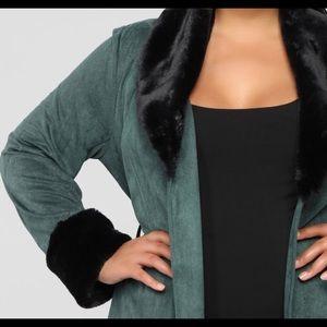 Jackets & Blazers - Green long Coat